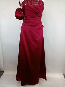 Alfred Angelo Burgundy Bridesmaid/Evening Dress with bag UK Size 14 B11