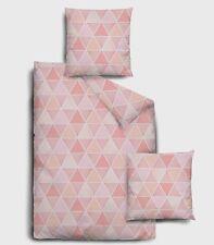 4 tlg. Dormisette Mako-Satin Bettwäsche 135x200 cm Dreiecke rose lachs puder 559