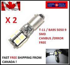 2Pcs white T11 BA9S W6W 5050 9SMD 9 LED Led Canbus Error Free Lamps 12V DC Xenon