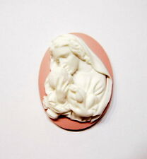 4 of 40x30 mm White over Pink Virgin Mary Madonna with Baby Jesus Cameos, Nice