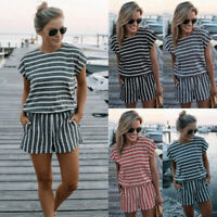 Womens Holiday Short Sleeve Playsuit Summer Beach Shorts Jumpsuit Mini Dress