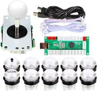 Arcade Buttons 1 Player DIY Kit USB Encoder to PC Joystick + White LED Buttons