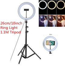 """10"""" LED Ring Light Kit w/ Stand Dimmable 5500K Photography USB for Makeup Phone"""