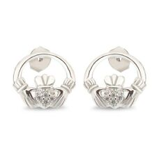 Round D/VVS1 Claddagh Stud Earrings 14k White Gold Over 925 Sterling Silver