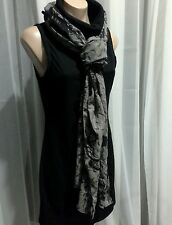 VINTAGE MIMCO GREY & BLACK BUTTERFLY PRINT SCARF  WRAP WITH POMPOM EDGING