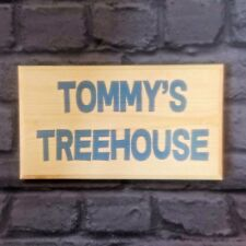 Large Personalised Treehouse Blue Text Plaque / Sign - Garden Kids Notice House