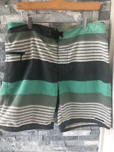 "Men's PATAGONIA Green & Gray Stripe Board Shorts-Size 36-8.5"" Inseam"