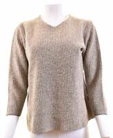 MAX MARA Womens V-Neck Jumper Sweater Size 16 Large Grey  CI07
