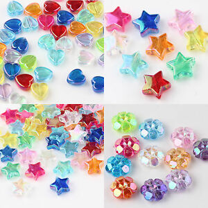 Wholesale 50/100 Pcs Clear Acrylic Faceted Heart Flower Star Shape Spacer Beads