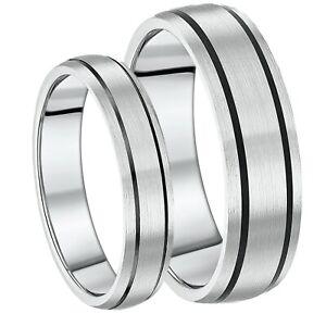Er & Sie 5&7mm Titanium Schwarz Emailliert Hochzeit Ringe Solide Titan