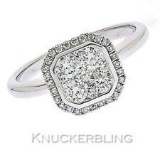 Diamond Square Halo Design Ring 0.70ct F VS Brilliant Cut set in 18ct White Gold