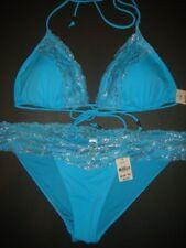 NWT Victoria's Secret PINK triangle BIKINI M BLUE silver zebra stripe RARE!