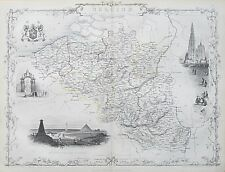 c1854 BELGIUM Genuine Antique Map by Rapkin Original Outline Hand Colouring