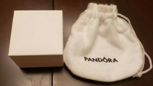 New Pandora Ring Charm Empty Box W/ Wide White Pouch