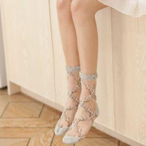 Sexy Lace Mesh Socks Stretch Transparent Sock Thin Fishnet Silk Sox Comfort Pair