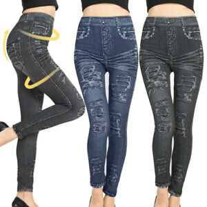 Ladies Stretchy Imitation Denim Jeans High Waist Yoga Slim Leggings Pencil Pants