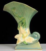 """ANTIQUE ROSEVILLE ART POTTERY CLEMANTIS PATTERN 190-6"""" CORNUCOPIA FLOWER VASE !"""