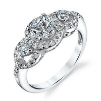 Sterling Silver 3 Stone Cluster Cubic Zirconia Engagement Wedding Ring Bridal