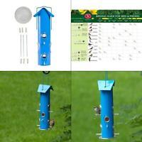blue metal tube hanging bird feeder - 1 lb. capacity