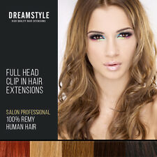 Full Head Clip In 100% Real Remy Human Hair Extensions & High Lights