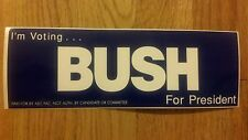 I'm Voting George W. Bush for President 2000 Bumper Sticker Mint New ABC PAC