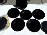 """Gorgeous Unique Black w/ Gold Lined Edge and Middle Salad Porcelain Plates 8"""""""