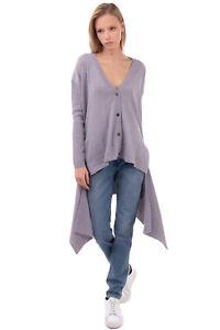 RRP €175 CARLA G. Wool Cardigan Size 44 / M Split & Asymmetric Hem Made in Italy