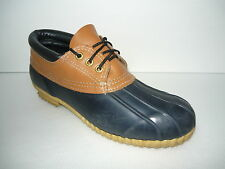 Vintage USA Navy Blue Lined Duck Rain Shoes Rubber/Leather Ankle Boots Sz 10