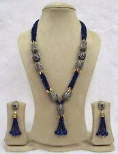 BabosaSakhi High Quality Antique Bue Onyx Bead Long String Necklace Earring RW5