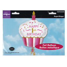 Party Supplies Decorations One Girls Birthday 1st Shape Cupcake Foil Balloon