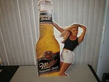 Miller Genuine Draft Beer Sign Girl Bottle tin Large, Nice, Rare