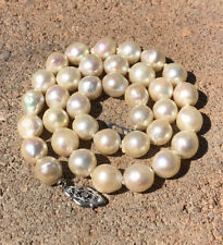 ANTIQUE 14K WHITE GOLD 9MM SOUTH SEA BAROQUE PEARL KNOTTED NECKLACE 15""