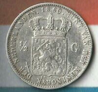 1860 Netherlands 1/2 Gulden- 94.5% Silver- In Fairly Nice Shape~