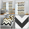 Tan Chevron Zig-Zag Geometric Print Lined Eyelet Top Ring Top Curtains Pair