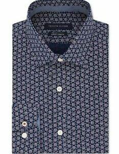 Tommy Hilfiger Men's Slim-Fit Non-Iron Performance Stretch Print Dress Shirt