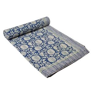 handmade White & blue Block printed pure cotton kantha quilt bed cover Bedspread
