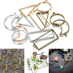 10Pcs Geometric Hollow Metal Frame Bezel Epoxy Resin Pendant Tray Jewelry Making