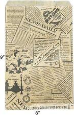 "Novel Box Newsprint Kraft Print Paper Merchandise Bag Bundle 6""X9"" LOT 100 *Y"