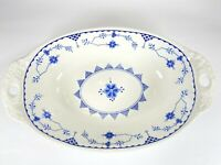 """Denmark Blue By Franciscan English Stoneware 10"""" Oval Vegetable Serving  Dish"""
