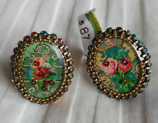 Michal Negrin Roses Oval Swarovski Crystal Cameo Ring CHOOSE YOUR COLOR NEW! $87
