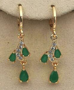 ❤️Earrings 9ct Gold Classic Emeralds ❤️ Diamond Drop 33 mm Mother Gift Silver ❤️