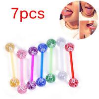 7pcs/lot Glitter Bar Tongue Rings Body Piercing Jewelry Tounge Bars Gift==