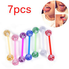7pcs/lot Glitter Steel Bar Tongue Rings Body Piercing Jewelry Tounge Bars LN