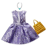 Barbie Fashion Pack Purple & Silver dress with gold purse & necklace