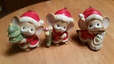 Vintage Set of 3 Ceramic Homco Christmas Mice Santa Outfits Figurines