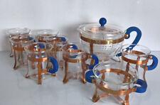 Bodum Tee Service Kanne, 6 Teegläser, Zuckerschale, Milchkännchen Kupfer Halter