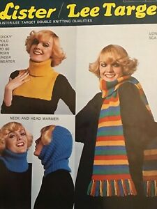 Scarf , Neck & Head Warmer ( Cowl ) Polo Neck Vintage Knitting Patterns. Lister