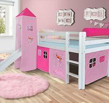 prinsessin hochbett spielbett mit rutsche massiv weis turm und vorhang pink - Hausgemachte Etagenbetten Mit Rutsche
