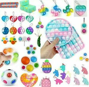 Mini NEW Push Pop it Bubble Simple Dimple Fidget Toy Stress Relief Toys Keychain