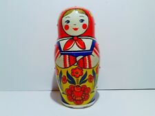 CCCP USSR Vintage Russian Matrioshka clockwork tin toy fully working